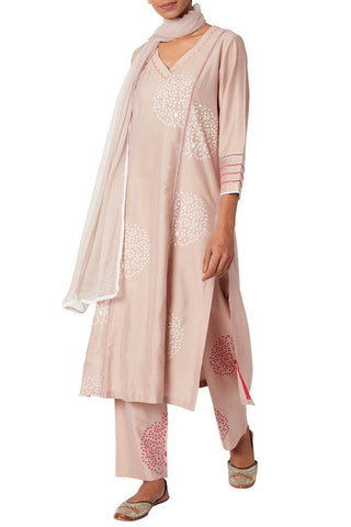Onion Pink Cotton Silk Blend Straight Kurta Set