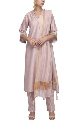 Onion Pink Cotton Silk Kurta with Mulmul Pants - devnaagri