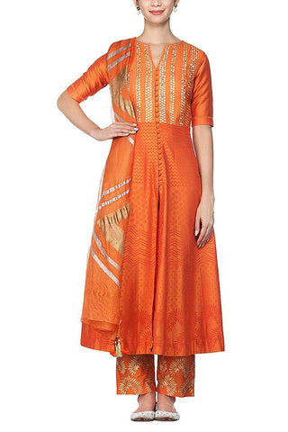 Orange Anarkali with Silk Pants - devnaagri