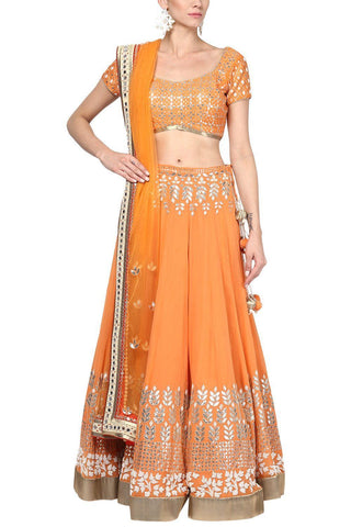 Orange and Champagne Gota Patti Embroidered Lehenga Set - devnaagri