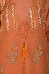 Orange Cotton Silk Kurta With Churidar - devnaagri