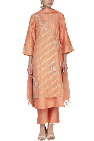Orange Cotton Silk Kurta with Shantoon Pants - devnaagri