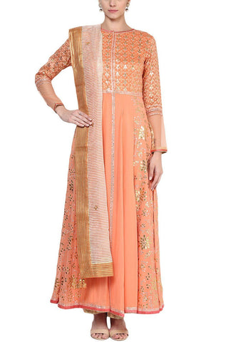 Orange Gota Patti and Patra Work Anarkali Set - devnaagri