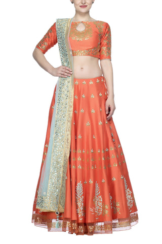 Orange Lehenga with Blue Net Dupatta - devnaagri