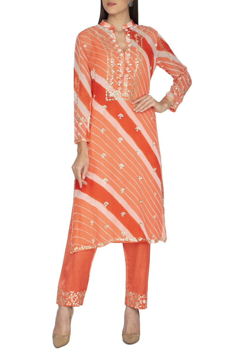 Orange Leheriya Kurta with Slim Pants - devnaagri