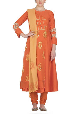 Orange Anarkali with Patra Work and Tassle Dupatta - devnaagri