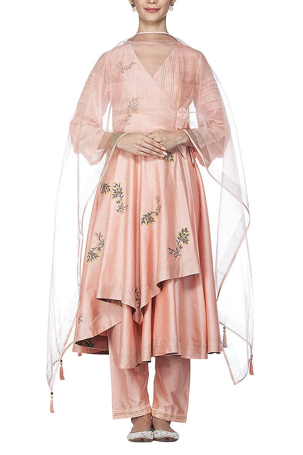 Peach Anarkali with Pants Set - devnaagri