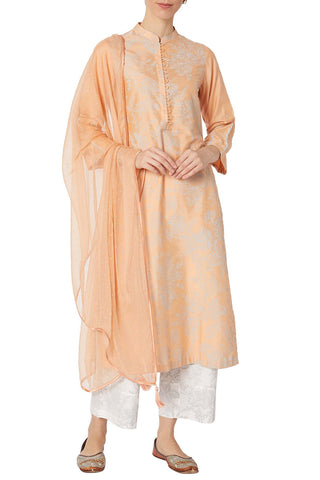 Peach Cotton Silk Blend Hand Block Printed Kurta With Pants And Scarf