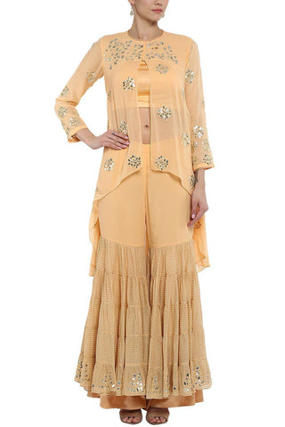 Peach Embroidered Kurta with Gharara - devnaagri