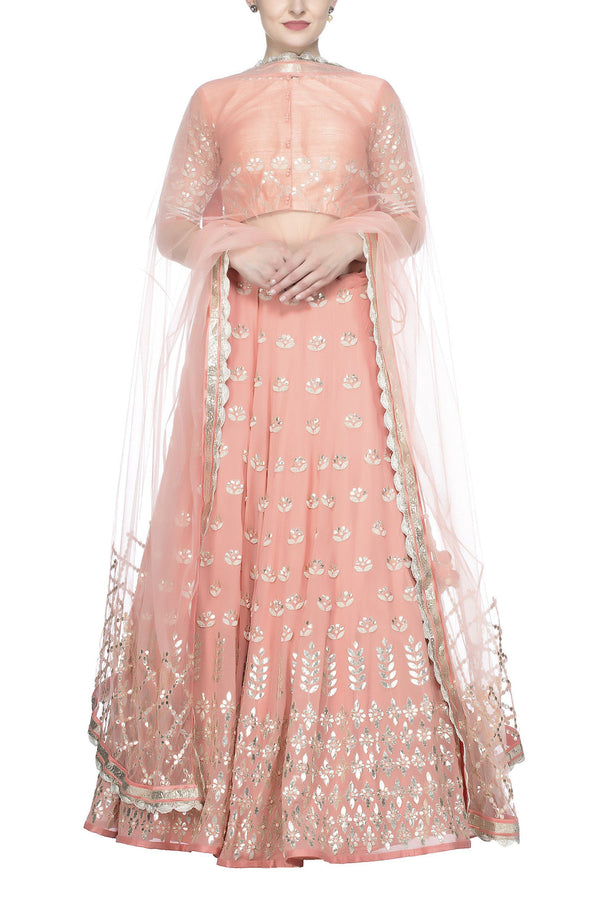 Peach Gota Patti Embroidered Lehenga Set - devnaagri
