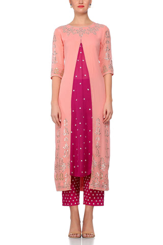 Peach Kurta with Burgundy Panel with Pant Set - devnaagri