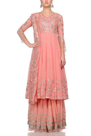 Peach Sharara with Net and Organza Dupatta Set - devnaagri
