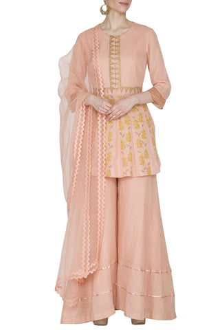 Peach Top with Sharara Set - devnaagri