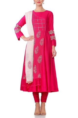 Pink Anarkali with Patra Work and Tassle Dupatta - devnaagri