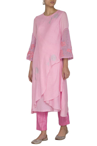 Pink Assymetrical  Kurta with Slim Pants - devnaagri