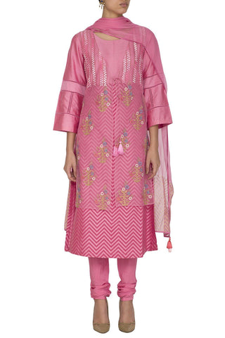 Pink Cotton Silk Kurta With Churidar - devnaagri