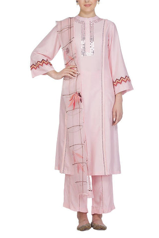 Pink Cotton Silk Kurta with Shatoon Pallazo - devnaagri