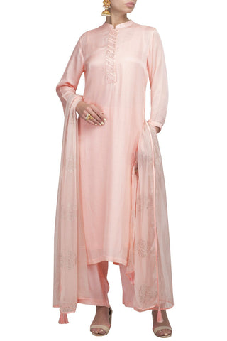 Pink Cotton Silk Kurta with Slim Pants - devnaagri