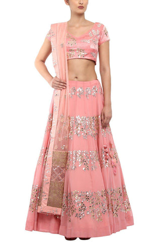 Pink Emrobroidered Lehenga with Pink Blouse - devnaagri