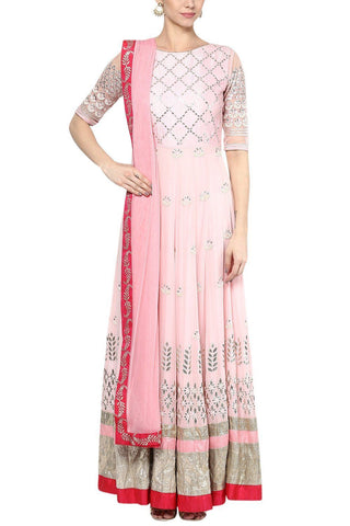 Pink Gota Patti and Embroidered Anarkali Set - devnaagri