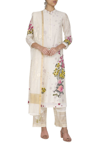 Pink HandPainted Straight Kurta With Pants - devnaagri