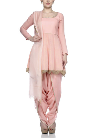 Pink Kurta with Dhoti Pants Set - devnaagri