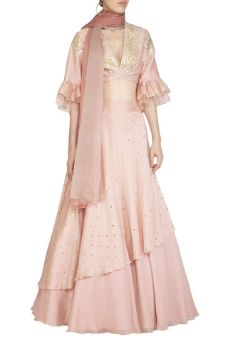 Pink Layered Lehenga with Mul Mukaish Blouse - devnaagri