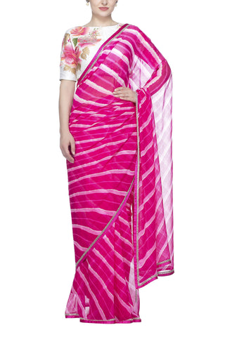 Pink Leheriya Saree with Hand Painted Blouse - devnaagri