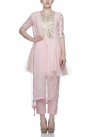 Pink Peplum Georgette Suit with Cotton Pants - devnaagri