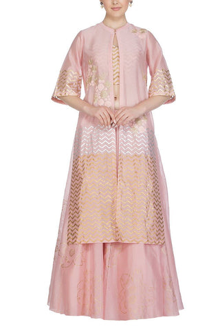 Pink Top with Jacket and skirt - devnaagri