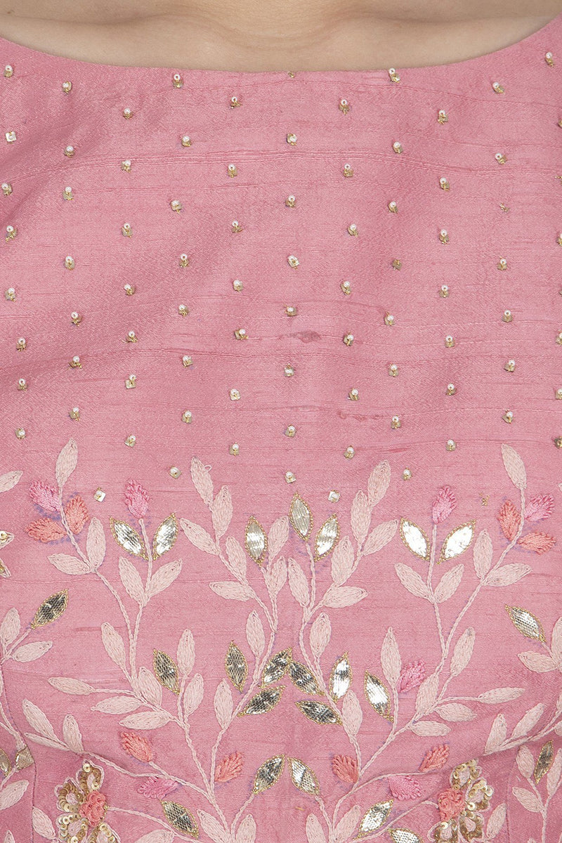 Pink Woven Saree with Raw Silk Blouse - devnaagri