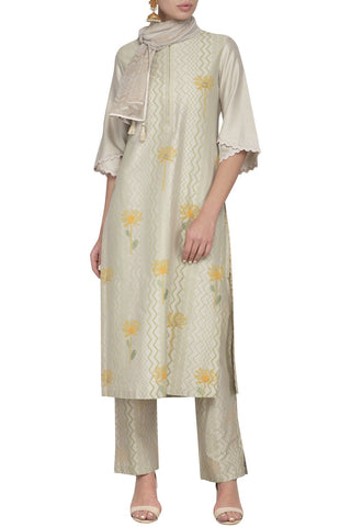 Pista Green Cotton Silk Kurta with Slim Pants - devnaagri