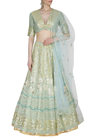 Pista Green Georgette Lehenga with Mul Mukaish Blouse - devnaagri