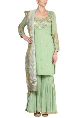Pista Green Gota Patti Embroidered Gharara Set - devnaagri