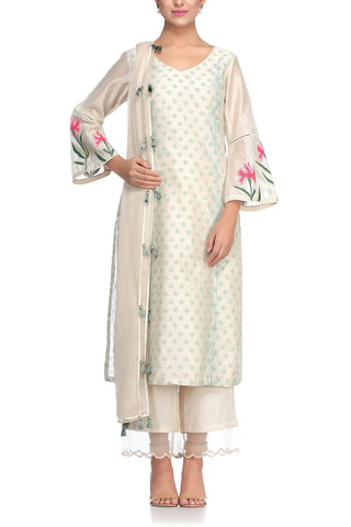 Pista Green Kurta with Pallazo Pants - devnaagri