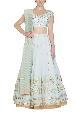 Powder Blue Lehenga with raw silk blouse - devnaagri