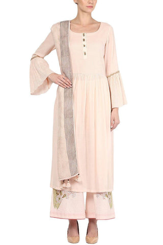 Powder Pink Kurta with Pallazo Pants Set - devnaagri