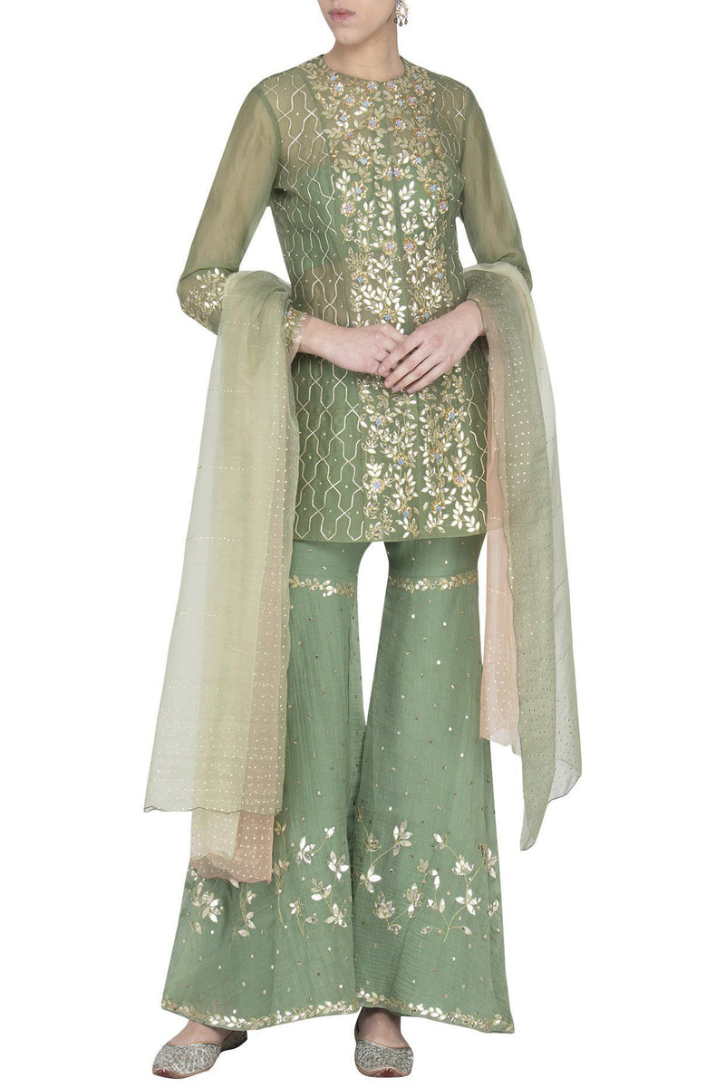 Green Organza Jacket with Mul Mukaish Sharara - devnaagri