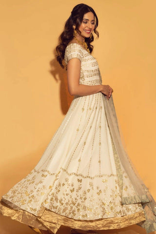 Rakul Preet Singh In Ivory Anarkali with lycra Churidar