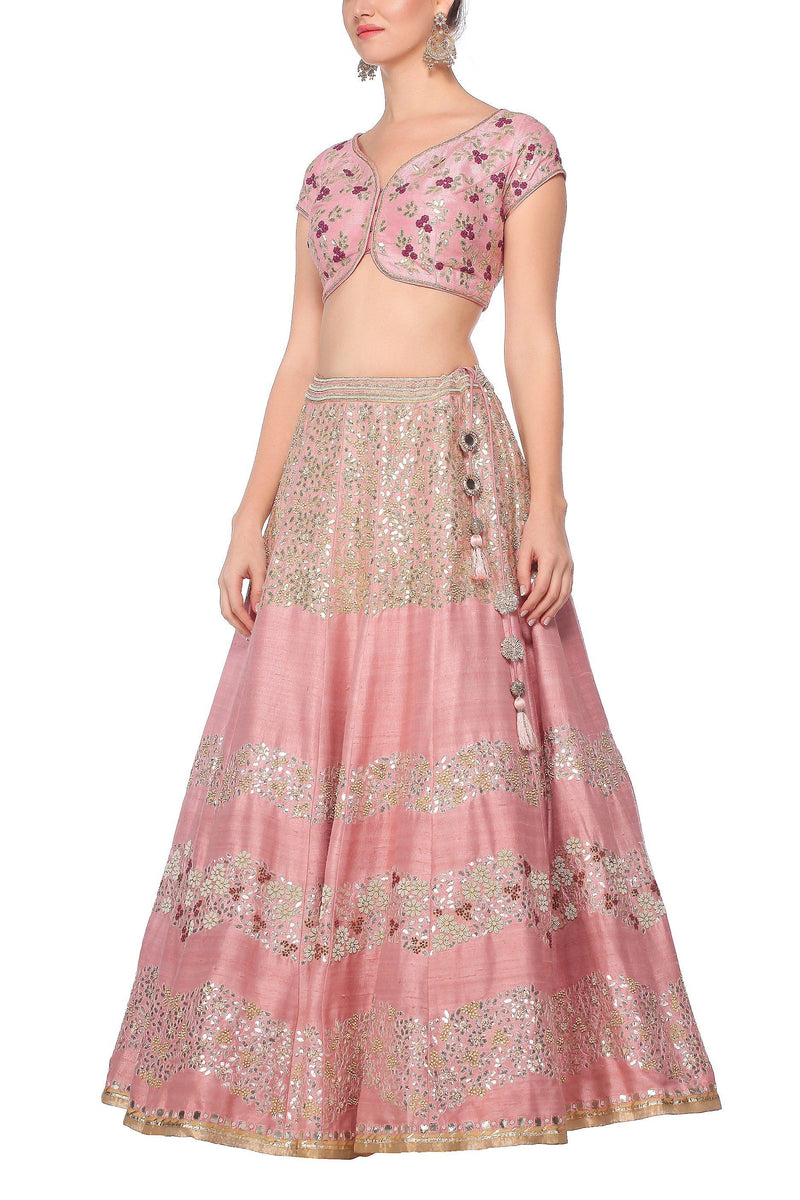 Raw Silk Light Pink Rose Lehenga Set - devnaagri