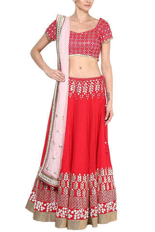 Red and Champagne Gota Patti Embroidered Lehenga Set - devnaagri