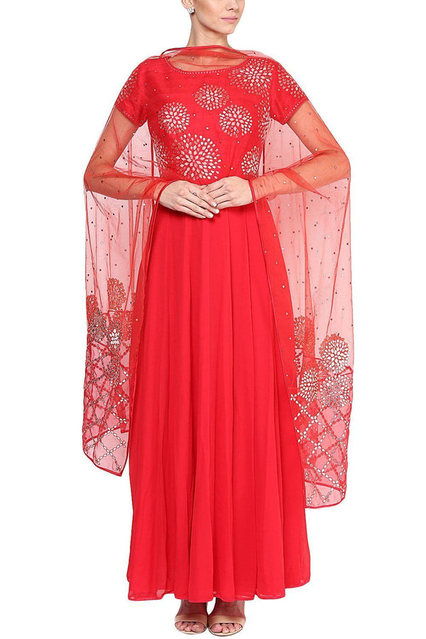 Red Gota Patti and Pearl Embroidered Anarkali Set - devnaagri
