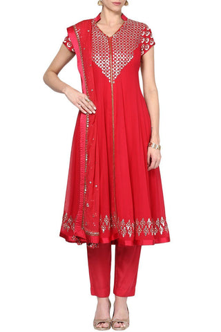 Red Gota Patti Work Kurta with Slim Pant Sets - devnaagri