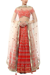 Red Lehenga with Ivory Dupatta - devnaagri