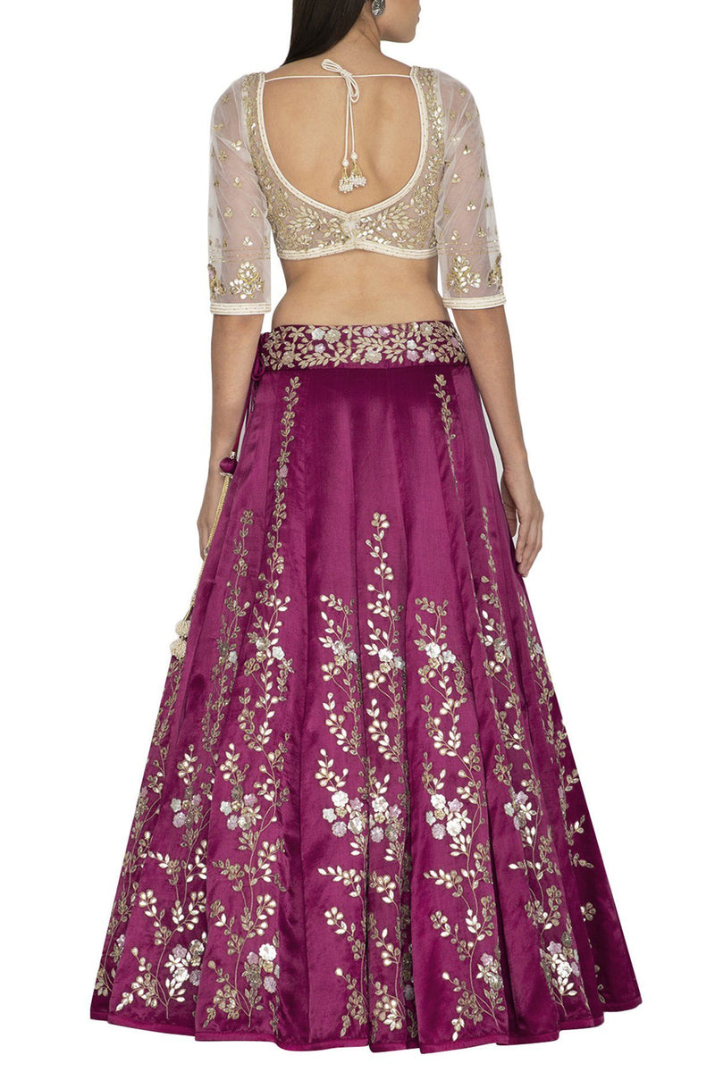 Red Plum Lehenga & Dupatta with Ivory Blouse - devnaagri