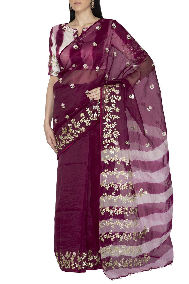 Red Plum Organza Saree with Tie & Dye pallu and Silk Blouse - devnaagri