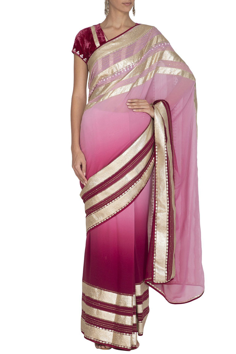 Red Plum Shaded Ombre Saree - devnaagri