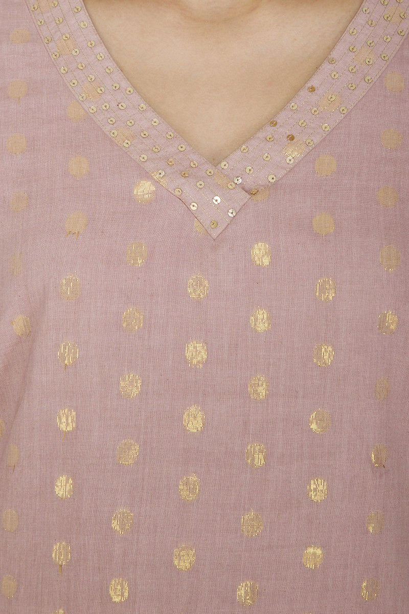 Onion Pink Straight Kurta with Palazzo - devnaagri