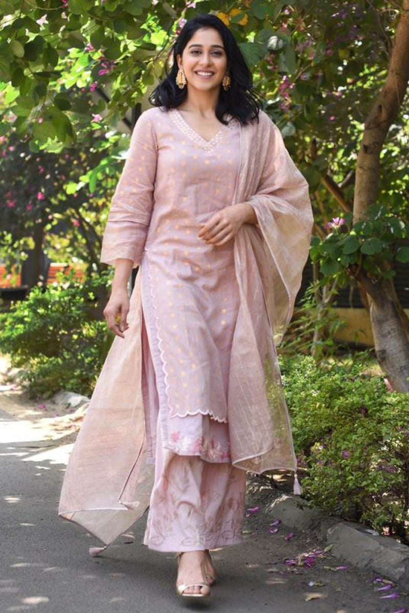 Regina Cassandra In Onion Pink Straight Kurta with Palazzo
