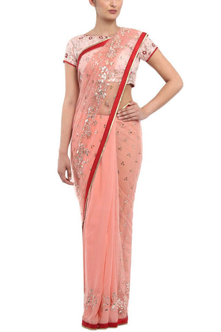 Rose Gota Patti Saree with Linen Blouse - devnaagri